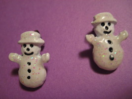 "VINTAGE Original SNOWMAN .5"" Pierced Earrings 264 - $19.27"