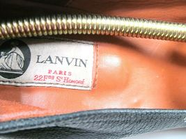 Lanvin Paris Womens Blacl Leather Round Toe Wedge High Heel Pumps Shoes US 10 image 7