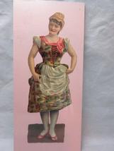 Victorian embossed die cut. European lady in floral dress - $8.99