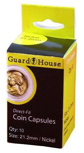 Guardhouse Nickel 21mm Direct Fit Coin Capsules, 10 pack