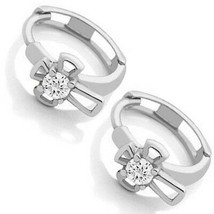 Children's Elegant 14k White Gold White Sapphire Cross Hoop Huggie Earrings - $127.71
