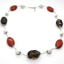 Necklace Silver 925, Jasper, Howlite, Quartz Smoke, Chain Oval image 1