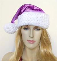 CHRISTMAS SANTA CLAUS HAT CAP MEDIUM  * New * SPARKLE Purple ST NICKS CH... - $12.58