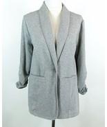 SUSAN GRAVER Size 1X French Terry Fleece Jacket Blazer Gray - $21.99