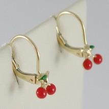 Baby Earrings in Yellow 750 18k charms, with Enamel Cherries, 1.7 cm image 2