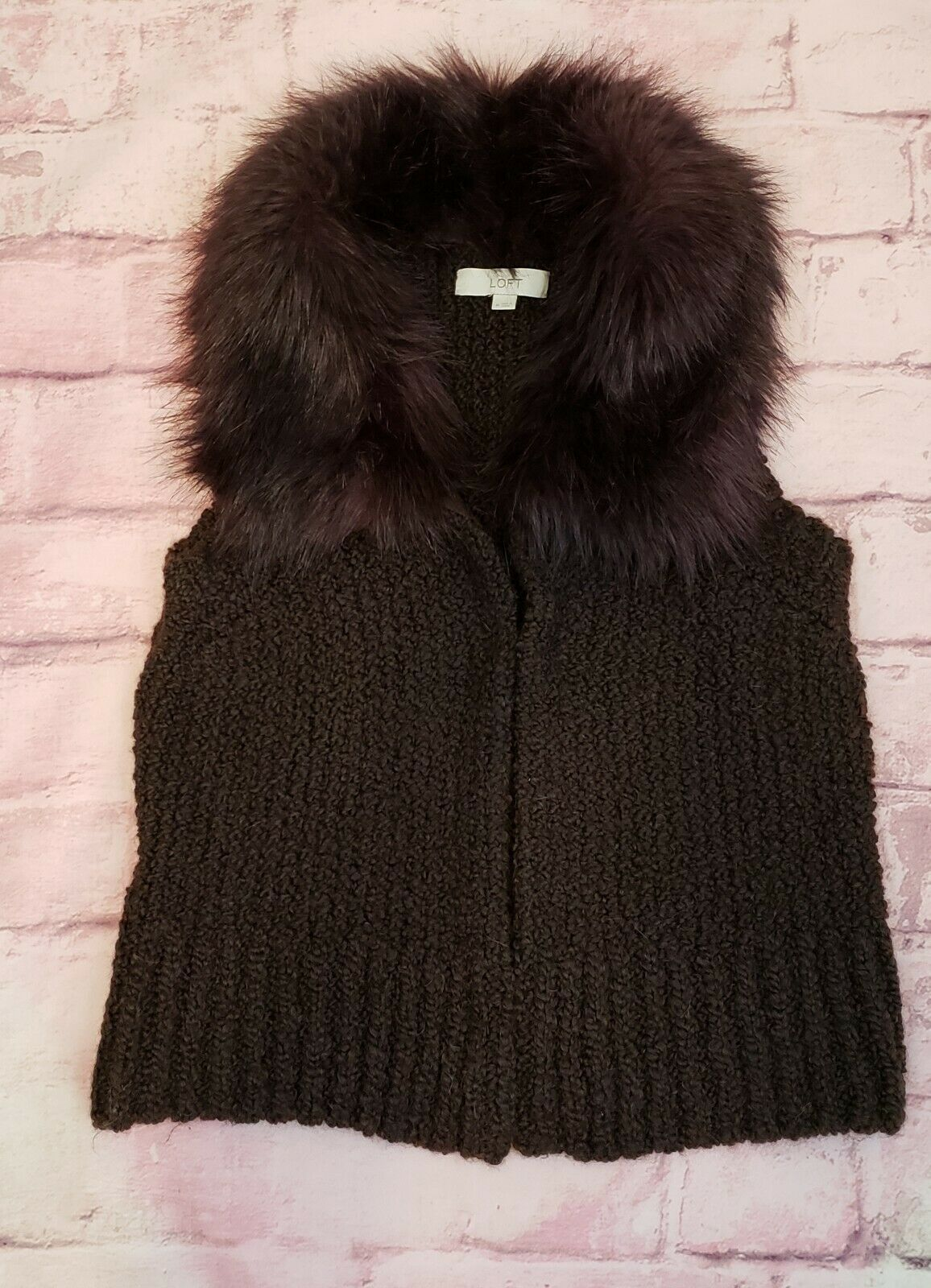 Ann Taylor Loft Womens Sweater Vest Alpaca/Mohair w/ Faux Fur Collar Brown Sz M image 2