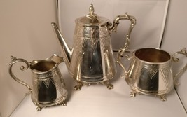 Aesthetic movement antique Victorian silver plated coffee set 3 pieces - $341.36