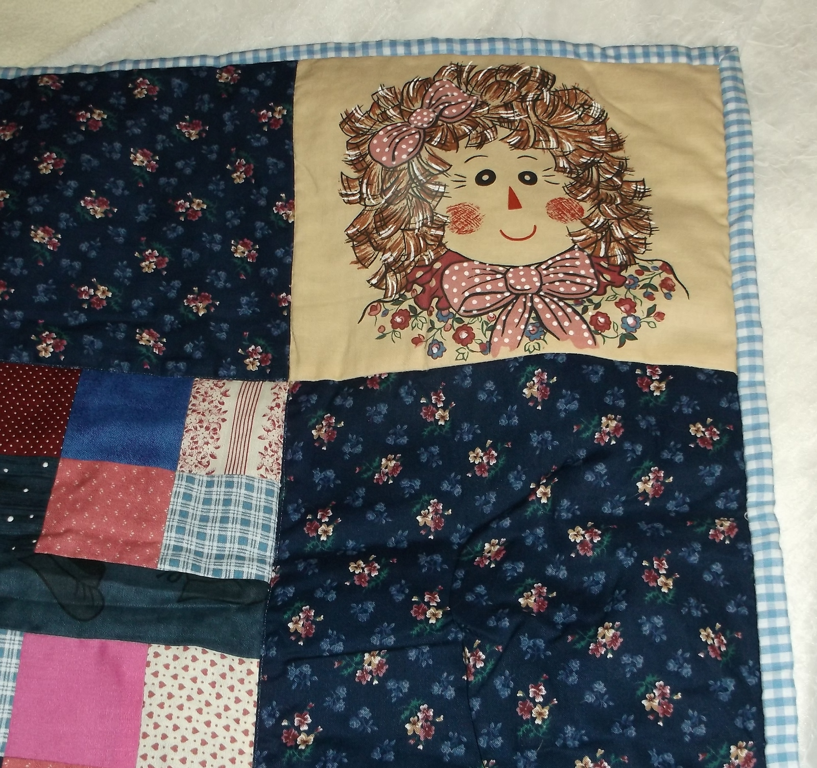 handcrafted quilt Rag Doll blue patchwork 37 x 48 lap toddler throw boy girl