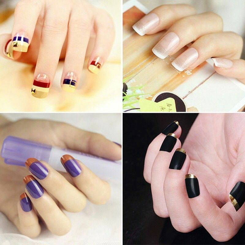 3 Packs French Manicure Nail Art Tip Guide Sticker Stencil Round Form Decoration