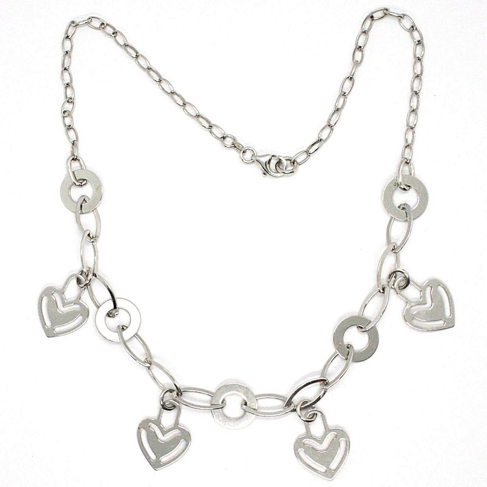 Necklace Silver 925, Chain Oval, Waterfall, Hearts Plates Hanging, Heart
