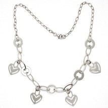 Necklace Silver 925, Chain Oval, Waterfall, Hearts Plates Hanging, Heart - $127.62