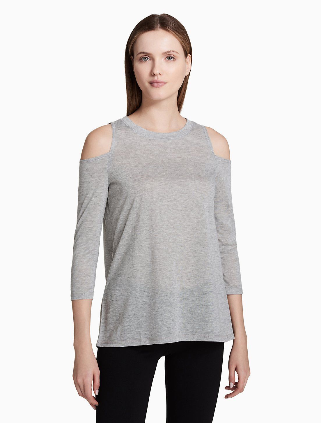 Calvin Klein Performance Cold-Shoulder Tie-Back Top PF8T2828 Grey Citrus Yellow