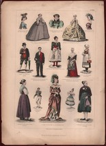 ca1875 Decorative Print Franz von Lipperheide Steel Engraving Fashion Ma... - $30.01
