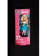 Barbie Mega Bloks Doll Blonde Hair White Top with Blue Skirt - $8.00