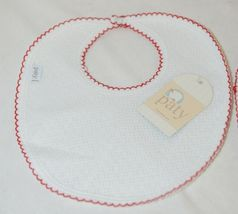 Paty Inc 15H153 Bib And Burp Set Solid White With Red Picot Trim image 4