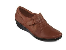 New Clarks Women Everlay Coda Soft Cushion Leather Shoes Tan Variety Sizes - $73.03