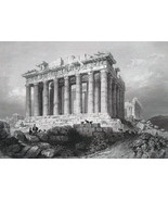 1853 PRINT: Athens Parthenon & AD: Eagle Foundry Steam Engines Columbus ... - $30.60