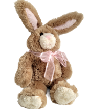 """Build-a-Bear Bunny Rabbit 16"""" + 7"""" Bendable Wired Ears Tan Pink Bow Easter BABW - $17.30"""