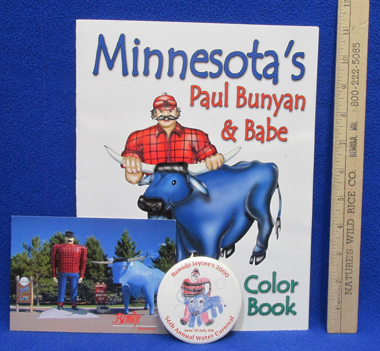 Paul Bunyan & Babe Color Book Bemidji MN Water Carnival Button Post Card Lot 3