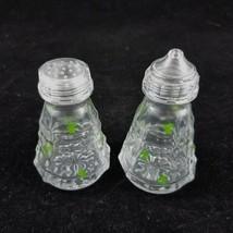 Irish Souvenir Shamrock Glass Cruet Set Salt Pepper Shakers St Patricks Day - $14.84