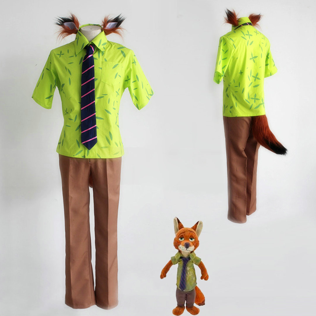 Zootopia Fox Nick Uniform Outfit Cosplay Costume