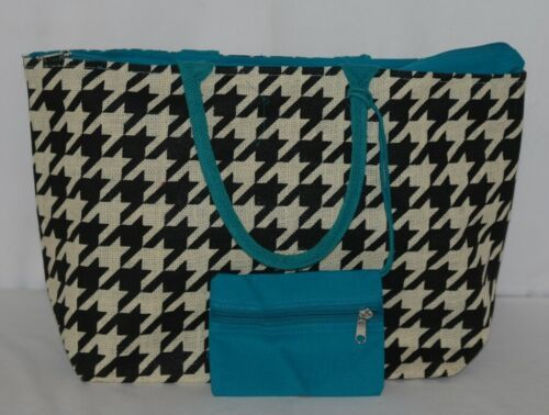 GANZ Brand ER39334 Style 101 Large Burlap Black Cream Purse Teal Handle
