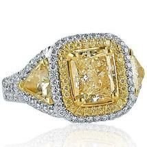 4.00 TCW Radiant Cut Yellow Trillion Side Diamond Engagement Ring 18k White Gold - $8,414.01