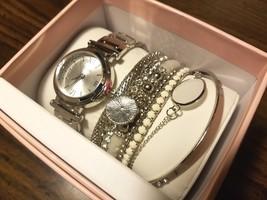 Neu Ovp Vivani Silber Kristall Quarz Uhr & 7 Armreif Armbänder Set + - $52.48