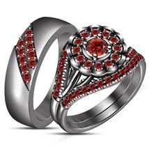 14k Black Gold Finish 925 Silver Red Garnet Mens & Womens Wedding Trio Ring Set - $168.99
