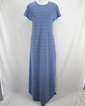 Lularoe Maria Maxi Dress Sz M Blue Purple Gray Stripe Cap Sleeve Long - $27.99