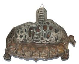 Judaica Oil Menorah Hanukkah Vintage Israel Silver Copper Jerusalem 1960's  image 5