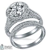 ROUND CUT DIAMOND PROMISE RING WEDDING BAND 14K GOLD 2.81 CARAT (1.71) F... - £7,209.31 GBP