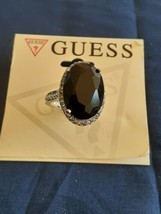 New Guess Large Stone Ring Silver Tone Size 7 - $8.00