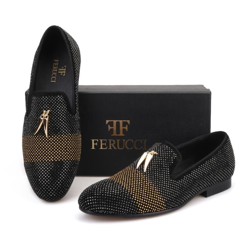 ae9efa083563 FERUCCI Black Slippers Loafers Flat With Crystal GZ Rhinestone and Shark  Tooth