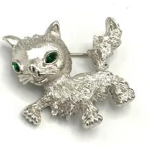 Vtg Monet Cat Brooch Silver Tone Green Crystal Eyes Kitten Pin Rare - $26.14