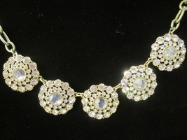 J. Crew Statement Necklace round floral sparkly lobster clasp close gold... - $24.70