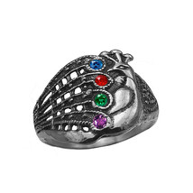 Peacock Ring Protect and deflect evil eye 925 Sterling Silver Stones Jew... - $52.35