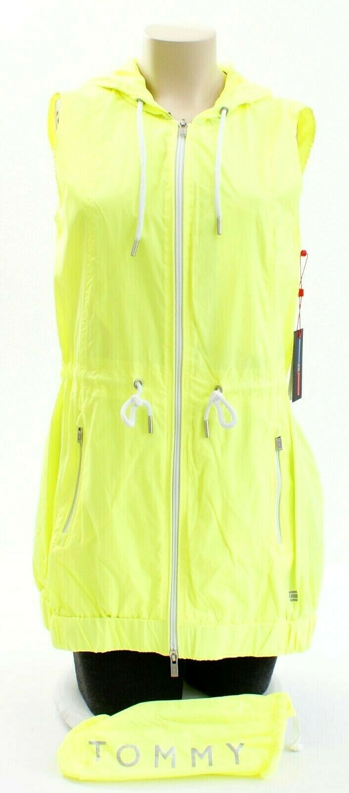 Tommy Hilfiger Yellow Zip Front Drawstring Hooded Sport Vest Women's Packable