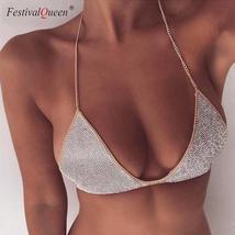 FestivalQueen sexy silver rhinestone bra two pieces set women luxury dia... - $80.63