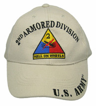 U.S. ARMY 2ND ARMORED DIVISION Hat Hell on Wheels Shadow Khaki Embroider... - $21.77