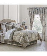 New Waterford Linens Darcy Reversible Comforter Set Queen 4 Piece Pewter - $261.35
