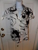 Express Design Studio Top Black/White Short Sleeve Shirt Size M Women's ... - $20.28