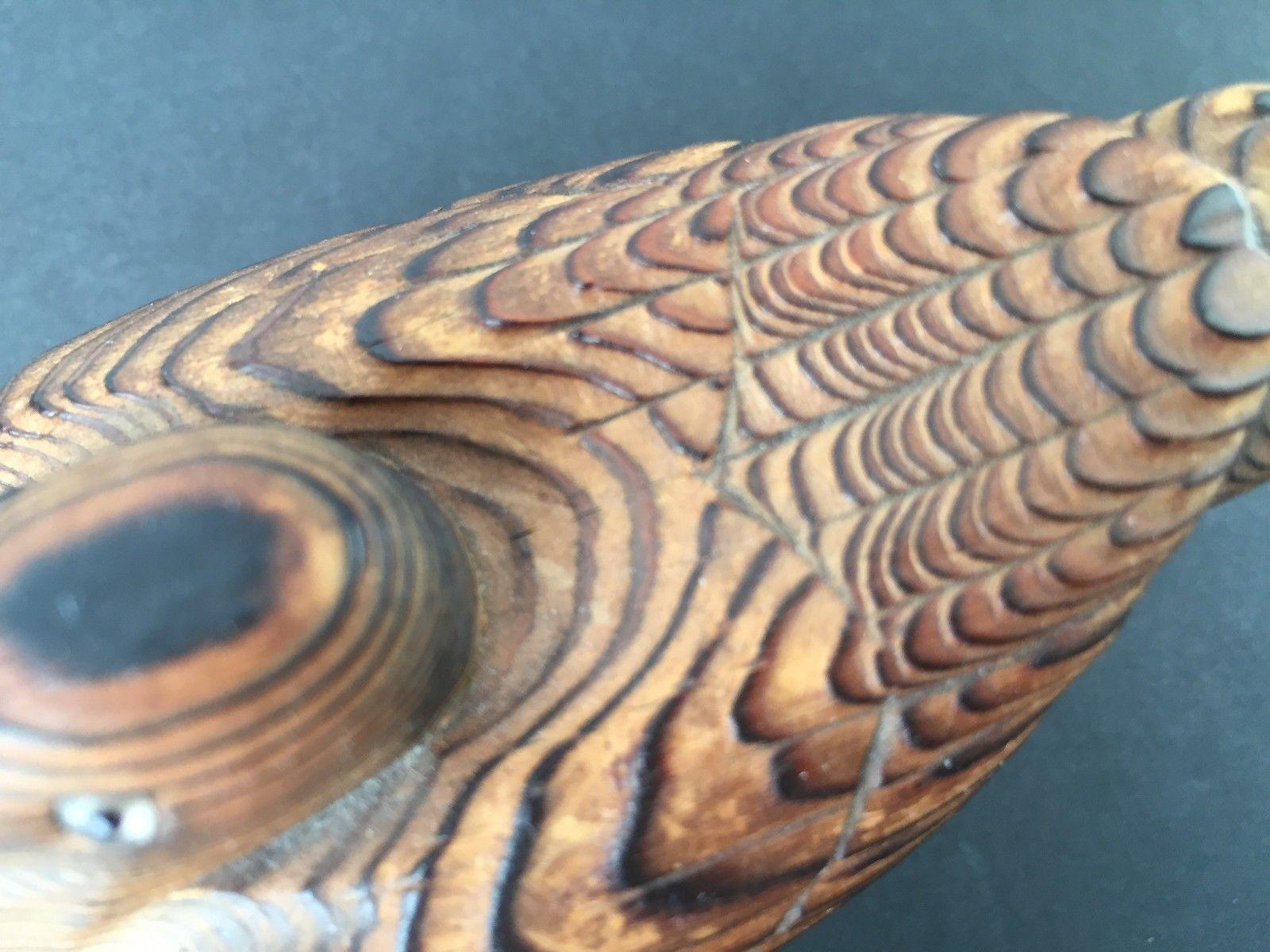 Vintage Mid Century Modern Wony Woco Japan Carved Cryptomeria Wood Bird or Duck