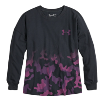 Under Armour T-Shirt Youth Girl's Long Sleeves, Black Pink Camo Dip Print - $14.96