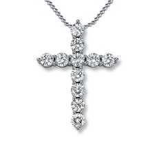Women's Cross Pendant With Chain 14k White Gold Plated 925 Silver Round Cut CZ - $50.20