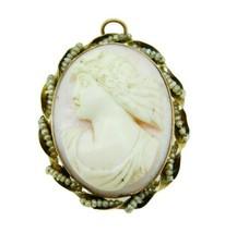 10k Yellow Gold Angel Skin Conch Shell Cameo Pin Pendant (#J337) - $325.00