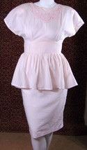 PLAZA SOUTH VINTAGE 80s peachy pink knee peplum straight dress M/L (TC2-... - $22.86