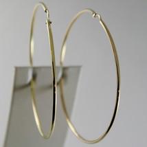 18K YELLOW GOLD EARRINGS BIG CIRCLE HOOP 63 MM 2.48 INCH DIAMETER MADE IN ITALY image 1