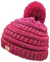 H-6847-816k.42 Girls Winter Hat Warm Knit Slouchy Kids Pom Beanie - Red/... - $17.93