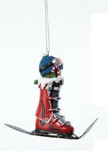 KURT S. ADLER HAND PAINTED SKIING THEME CHRISTMAS ORNAMENT RED SKI BOOT ... - $9.88